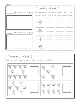 Kindergarten Monthly Homework Packets