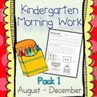 Kindergarten Morning Work Pack 1 (September-December)