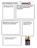 Kindergarten Parent Pre Conference Form