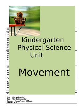 Kindergarten Physical Science Unit - Movement    **Aligned