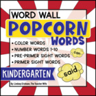 Kindergarten Popcorn Word-Wall Words