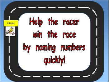 Kindergarten Racing Numbers 0 to 10 PowerPoint- Great for AimsWeb