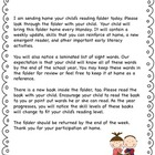 Kindergarten Reading Folders - Home-School Connection
