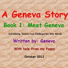 Kindergarten Site Words A Geneva Story Book 1 Meet Geneva 