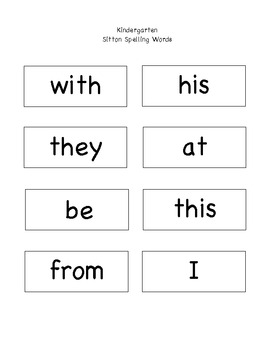 Kindergarten Sitton Spelling Words for Posting