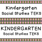 Kindergarten Social Studies TEKS Objective Cards {Green &