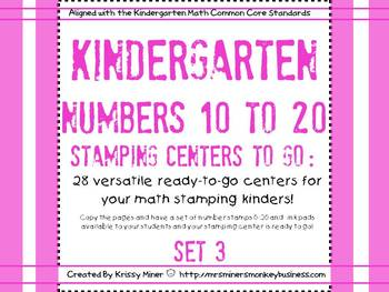 Kindergarten Stamping #s 1-20:  68 Math  Centers Ready to