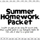 Kindergarten Summer Packet