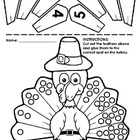 Kindergarten Thanksgiving Cut and Paste Numberlines