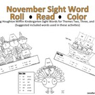 Thanksgiving Kindergarten Sight Word Roll and Color