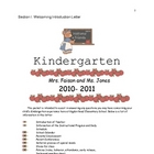 Kindergarten Welcome Packet