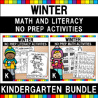 Kindergarten Winter Math & Literacy Worksheets Bundle (Com