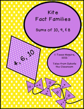 Kite Fact Families- Sums of 8, 9, 10