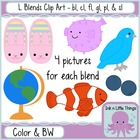 L Blends Clip Art Bundle- bl, cl, fl, gl, pl, &amp; sl clipart