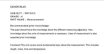 LESSON PLAN- MEASUREMENT-SUBJECT- PHYSICS-IGCSE-GRADE- 6