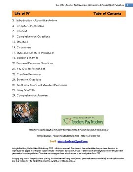 LIFE OF PI - YANN MARTEL- WORKSHEETS
