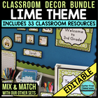 LIME MODERN PRINTS Classroom Color Scheme/Theme EDITABLE (