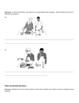 Lab Safety Quiz Test (middle high school physical science)