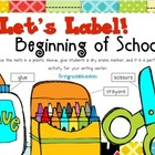 Label It! Beginning of School