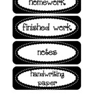 Labels / Signs for Paper Trays in Classroom, in black
