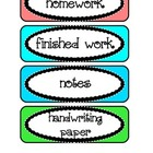 Labels / Signs for Paper Trays in Classroom in bright colors
