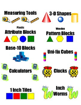 Labels for Math Manipulative Storage Bins