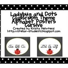 Ladybug and Dots Themed D'Nealian Cursive Wall alphabet