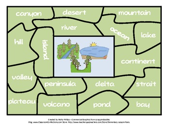 Landforms Puzzle Center Activity