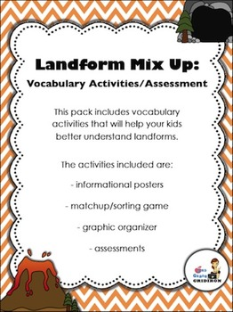 Landforms - Vocabulary Graphic Organizer and Assessment