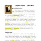 Langston Hughes Autobiography Brief and Poems