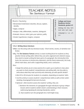 Language Arts Comprehension Check:Ten Sentence Format:
