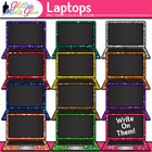 Laptop Computers Dipped in Glitter Clipart - Music, Video,