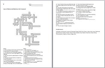 Laws of Motion and Simple Machines Crossword and Solution