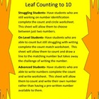 Leaf Counting Differentiated Worksheets
