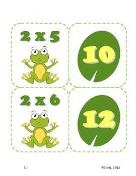 Leap Frog Multiplication Math Fact Memory Game or Flashcards