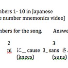 Learn Japanese numbers 1 thru 10 worksheet using mnemonics song