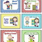 Learning Center Signs and Labels Chevron Print