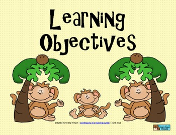 Learning Objectives Posters - Monkey Theme