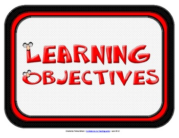 Learning Objectives Posters - Red and Black Theme