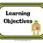 Learning Objectives Posters - Robot Theme