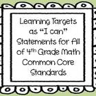 "Learning Targets as ""I can"" Statements for 4th Grade Math"