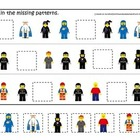 Lego themed preschool printable math game.  Fill in the Mi