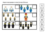 Lego themed preschool printable math game.  Match the Number.