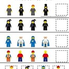 Lego themed preschool printable math game.  What Comes Next.