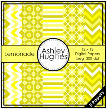 Lemonade {12x12 Digital Papers for Commercial Use}