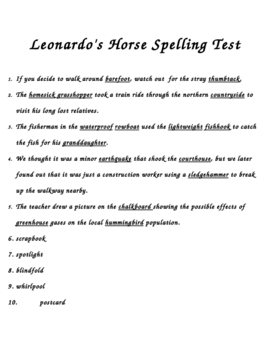 """Leonardo's Horse"" Spelling Dictation Test"