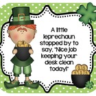 Leprechaun Desk Cards! Freebie! Positive reinforcement for