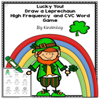 Leprechaun read and draw CVC and Sight Word game
