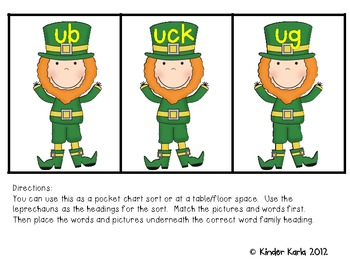 Leprechauns LOVE Word Families: Short u Set
