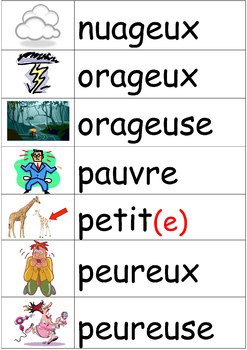 Les Adjectifs - illustrated word wall of French adjectives